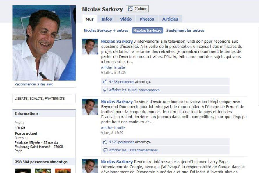 Le profil Facebook de Nicolas Sarkozy victime de Google bombing