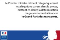 Financement du Grand Paris des transports : le gouvernement confirme ses engagements
