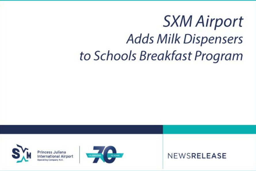Sint-Maarten – SXM Airport Adds Milk Dispensers to Schools Breakfast Program