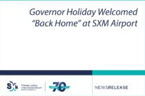 "Sint Maarten – Governor Holiday Welcomed ""Back Home"" at SXM Airport"