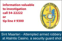 St. Maarten – Attempted armed robbery, a security guard shot