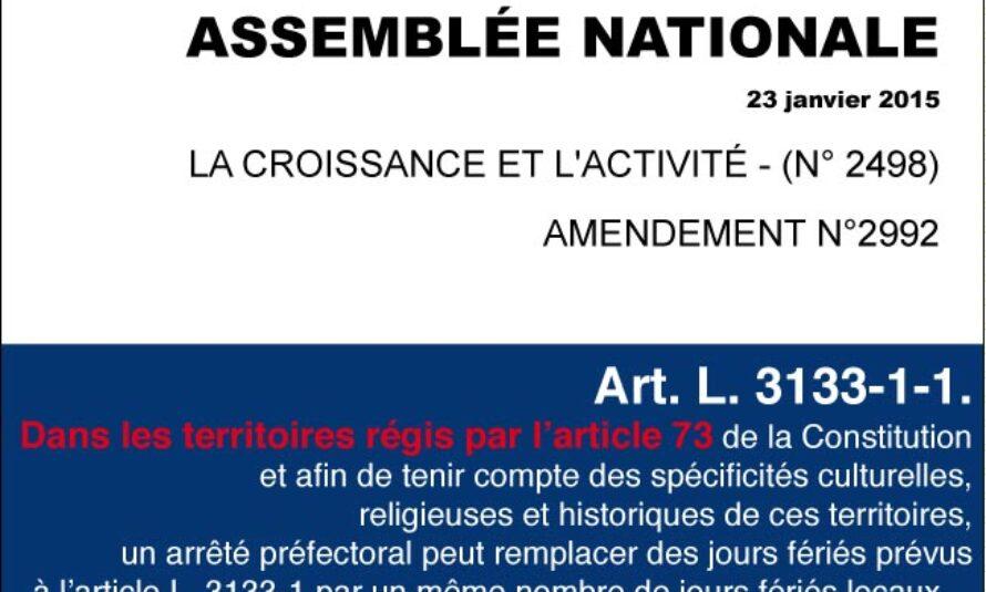 Loi Macron, de prime abord, pas de possibilité de modification de jours fériés à Saint-Martin