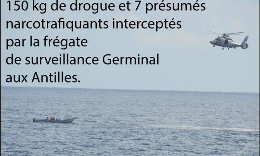 Frégate Germinal : 150 kg de drogue et 7 présumés narcotrafiquants interceptés aux Antilles