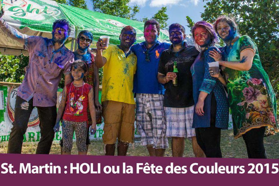 La Holî (fête des couleurs) 2015 organisée par la Aism French St Martin sur la plage d'Happy Bay
