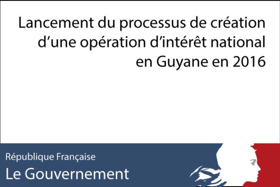Lancement du processus de création d'une opération d'intérêt national en Guyane en 2016