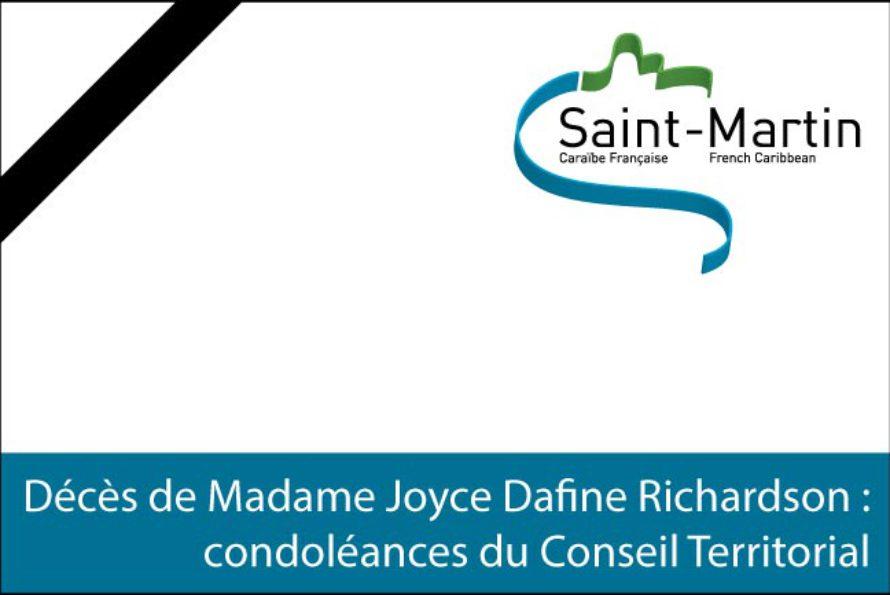 Saint-Martin – Décès de Madame Joyce Dafine Richardson : condoléances du Conseil Territorial