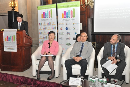 "Dr. Ma, Lin, the Deputy Secretary-General of the Beijing Municipal Government with responsibility for science, information technology, tourism, software development, education in Beijing was part of the panel on ""Beijing-Caribbean Tourism and Investment Opportunities"" at ICN 2014 at the Harvard Club in NYC. (Sharon Bennett image)"
