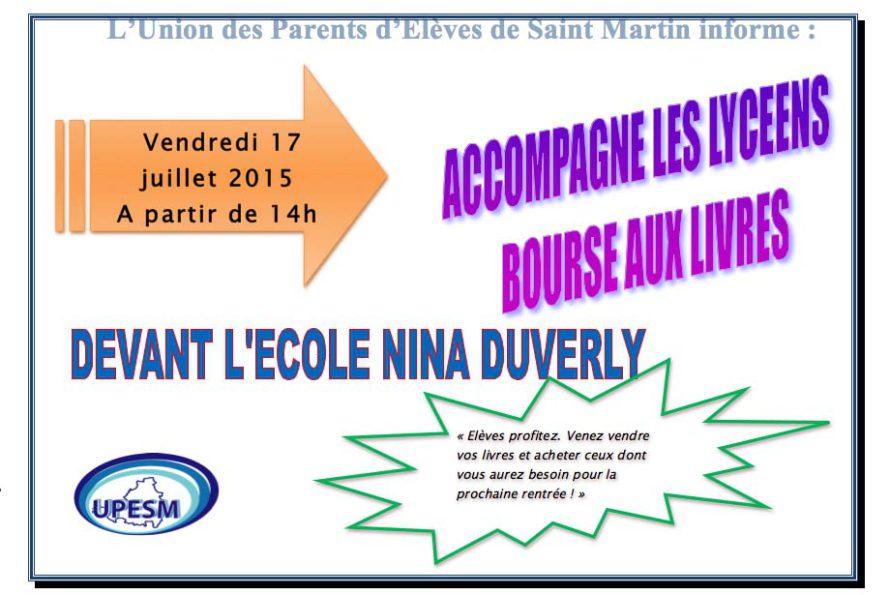 L'Union des Parents d'Elèves de Saint Martin informe : Bourse aux livres Vendredi 17 Juillet