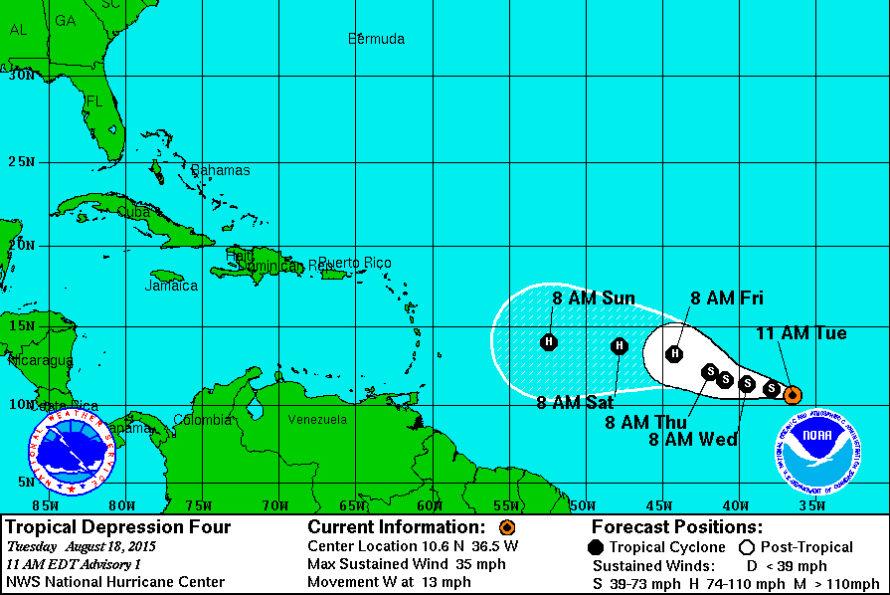 Le NHC reclasse l'invest 96 L en dépression tropicale n°4