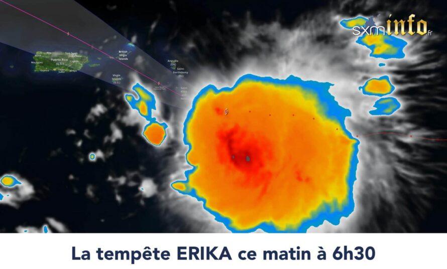ERIKA : La tempête tropicale se renforce légèrement et devrait atteindre les îles du nord en fin de matinée