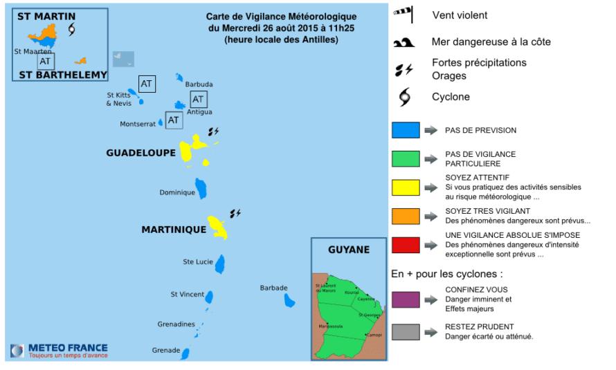 ERIKA : Bulletin de suivi VIGILANCE n° 4 Iles du Nord – St-Martin & St-Barthélemy – Mercredi 26 août 2015 – 11h22