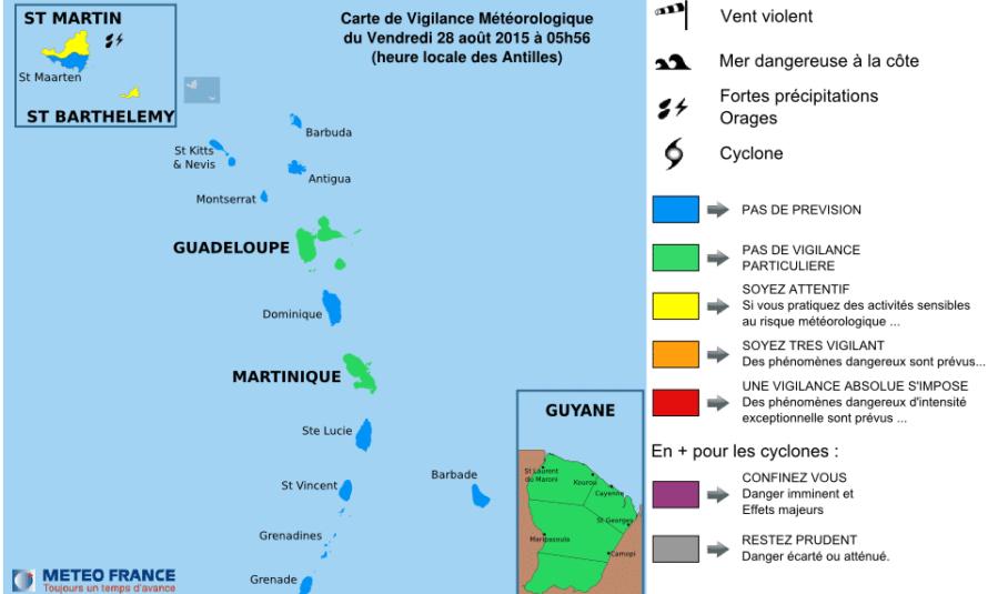 Bulletin de suivi VIGILANCE n° 11 St-Martin et St-Barthélemy du Vendredi 28 août 2015 à 06h02 légales
