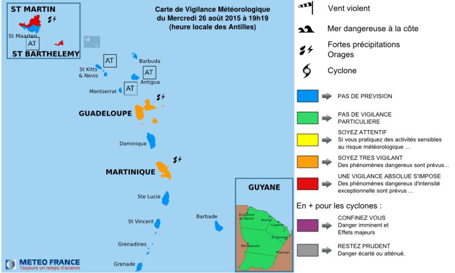 Bulletin de suivi VIGILANCE ROUGE pour Saint-Martin et Saint-Barthélemy – Mercredi 26 août 2015 à 19h20 légales