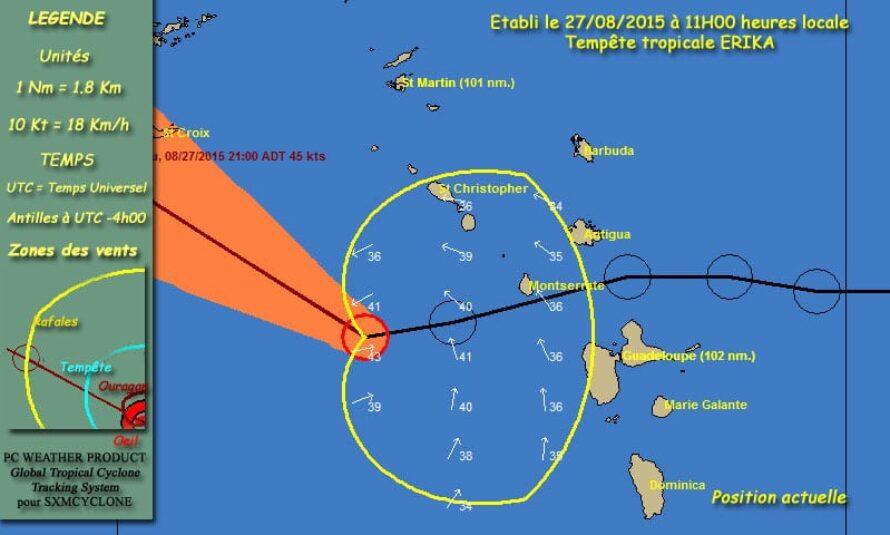 SXMCYCLONE – Maj 11h00 – Saint Martin et Saint Barthélemy sont en vigilance ROUGE au passage de la tempête ERIKA