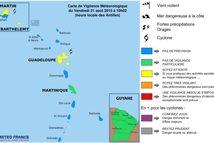 Bulletin de suivi VIGILANCE n° 1 pour les Iles du Nord : Saint-Martin et Saint-Barthélemy du Vendredi 21 août 2015 à 09h52