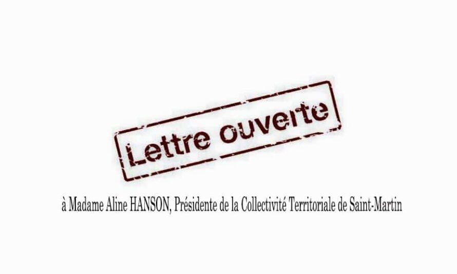 Lettre ouverte à Madame Aline HANSON, Présidente de la Collectivité Territoriale de Saint-Martin