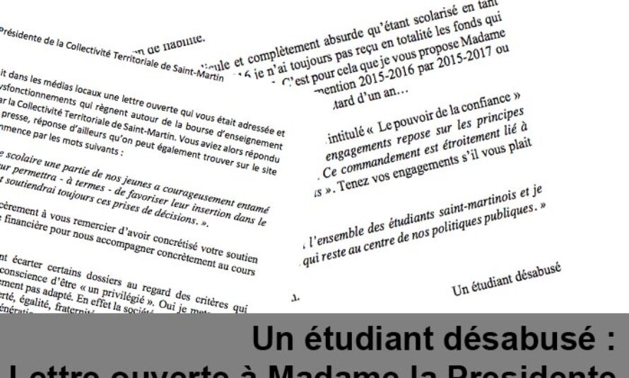 Un étudiant désabusé : Lettre ouverte à Madame la Presidente de la Collectivité Territoriale de Saint-Martin