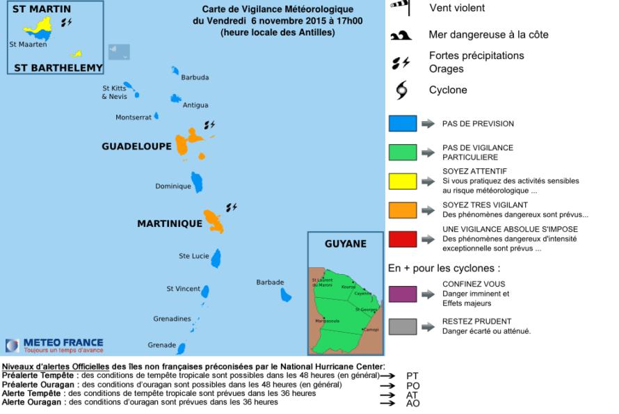 Vigilance Orange Guadeloupe et Martinique, Vigilance Jaune St-Martin et St-Barthélemy