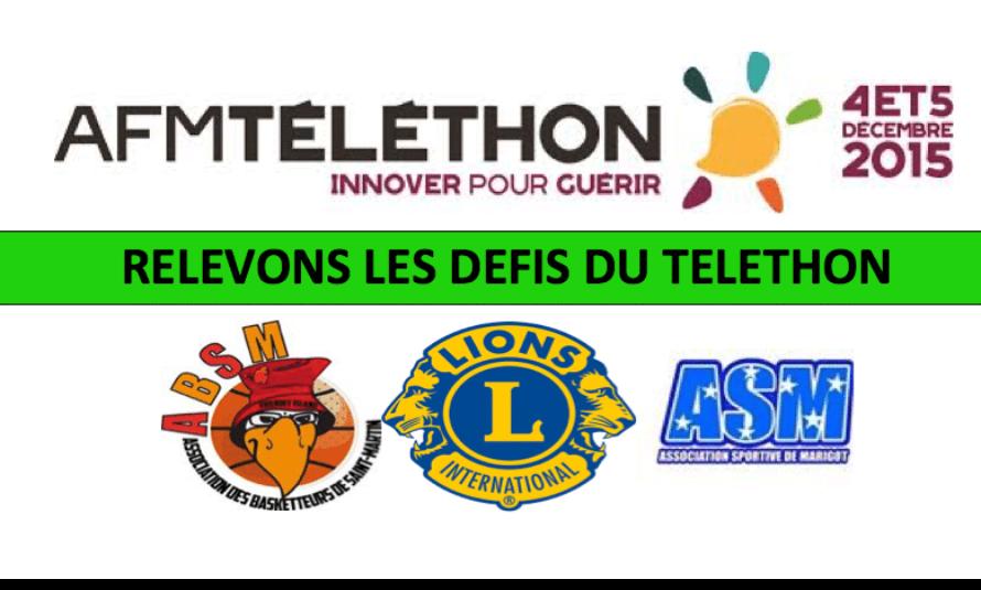 AFM Téléthon 2015 : Deux défis avec l'ABSM et l'ASM le 5 décembre 2015