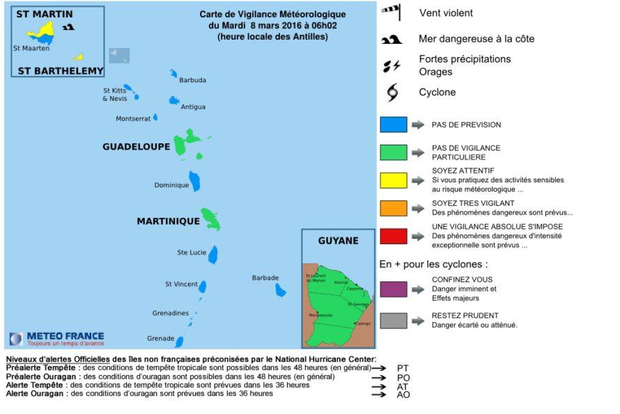 Vigilance Jaune Saint-Martin et Saint-Barthélemy : Mer dangereuse à la côte