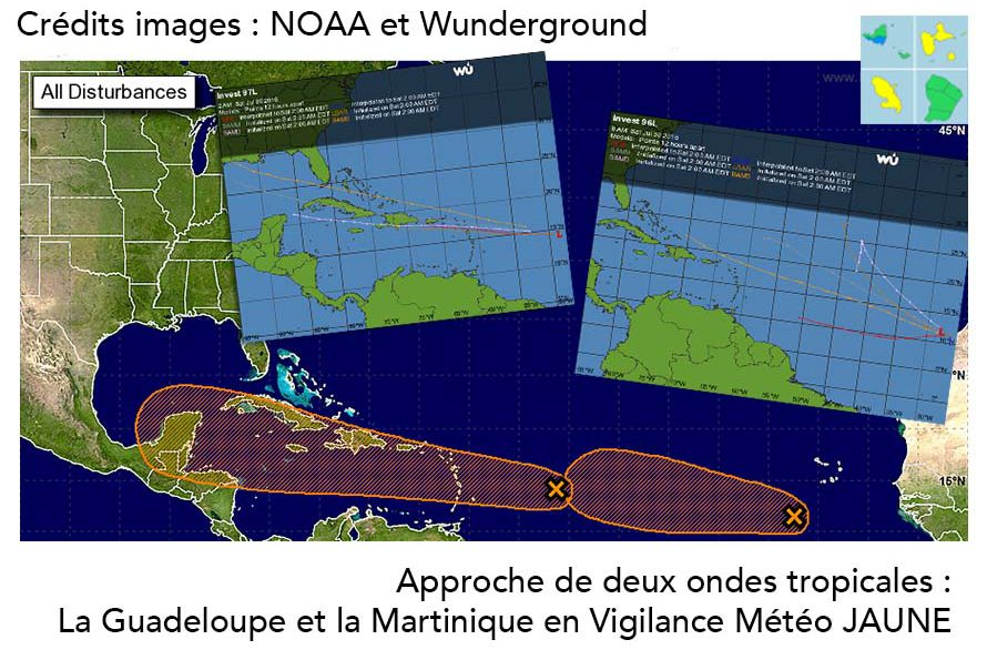 La Guadeloupe et la Martinique en vigilance Météo jaune à l'approche de deux ondes tropicales
