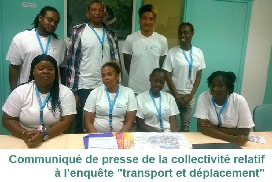 """Communiqué de presse de la collectivité relatif à l'enquête """"transport et déplacement"""""""