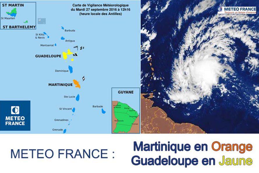 La Martinique en orange pour phénomène cyclonique – La guadeloupe en jaune pour Vents violents, Fortes pluies et Orages, Mer dangereuse à la côte
