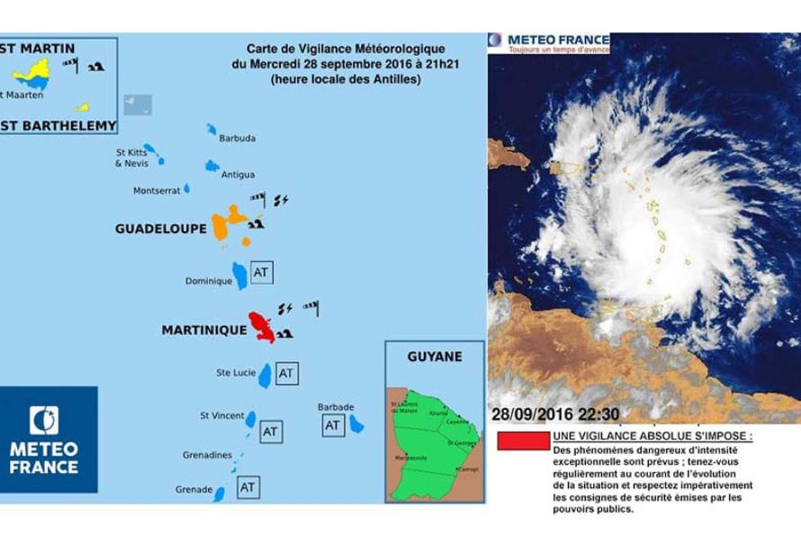 Martinique : Tempête Tropicale Matthew – Niveau de vigilance ROUGE pour Fortes pluies et Orages, Vents violents et Mer dangereuse à la côte