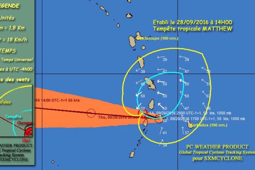 SXMCYCLONE : L'onde tropicale 97L est devenue la tempête tropicale MATTHEW