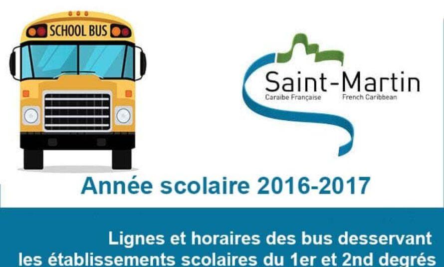Saint-Martin : Lignes et horaires des bus desservant les établissements scolaires du 1er et 2nd degrés pour l'année scolaire 2016-2017