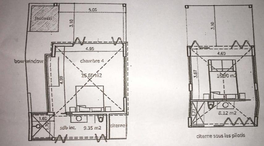 Deux plans du projet de l'Eco-Lodge de Pinel