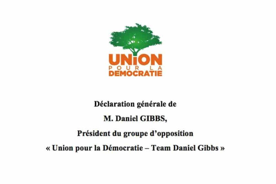 """Saint-Martin : Déclaration générale du président du groupe d'opposition """"UD-Team Daniel Gibbs"""" au Conseil territorial de ce jour"""