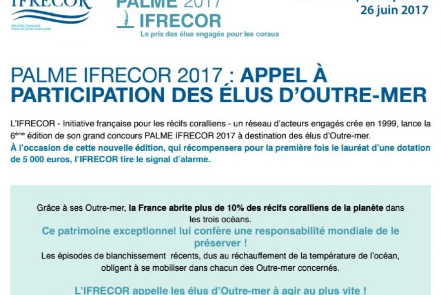 PALME IFRECOR 2017 : APPEL À PARTICIPATION DES ÉLUS D'OUTRE-MER