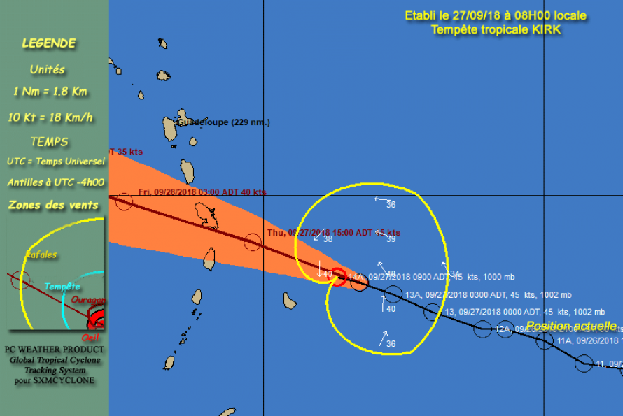 La Guadeloupe et de la Martinique sont en vigilance cyclone ORANGE à l'approche de la tempête tropicale KIRK