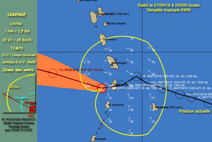 La Martinique reste en vigilance cyclone ORANGE à l'approche de la tempête tropicale KIRK