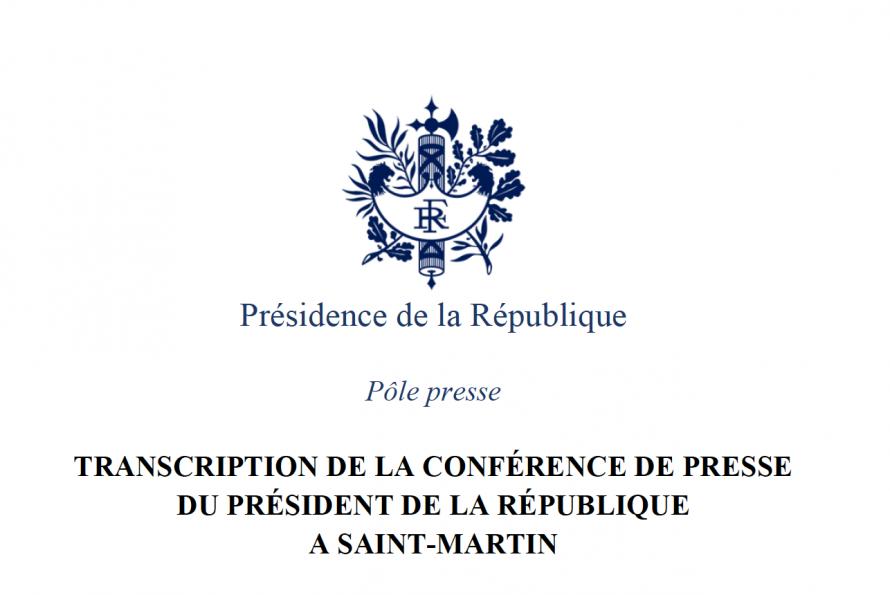 Transcription de la conférence de presse du Président à Saint-Martin