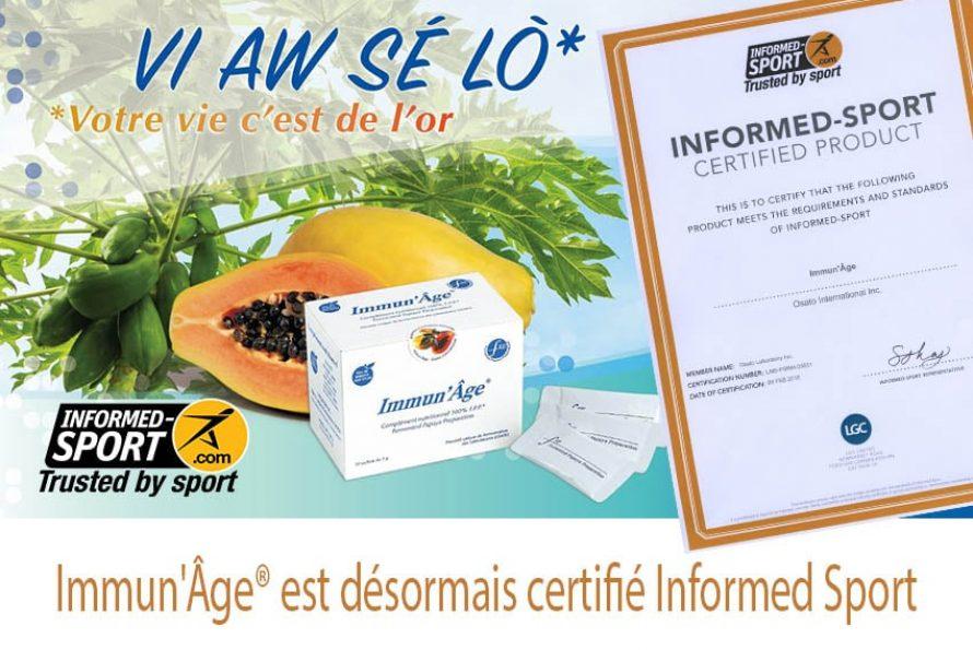 Immun'Âge® est désormais certifié Informed Sport : Une certification ANTI-DOPAGE qui a du poids