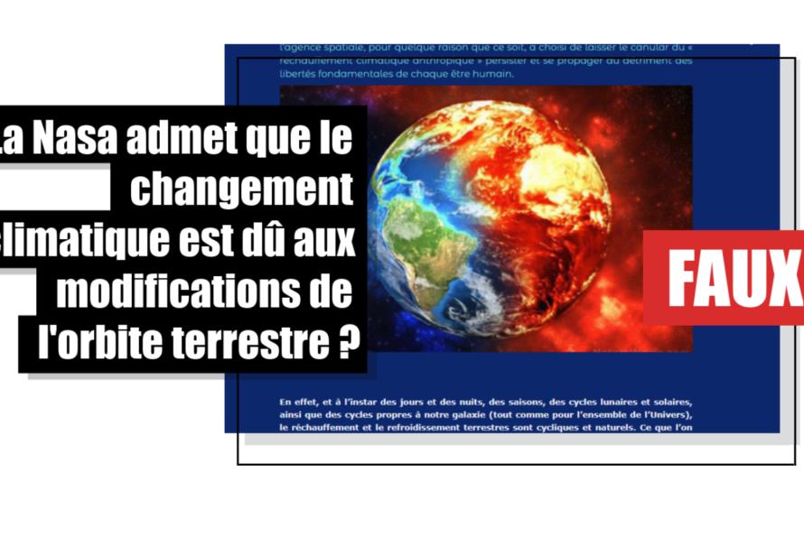 La Nasa n'a pas admis que le changement climatique est dû aux modifications de l'orbite terrestre