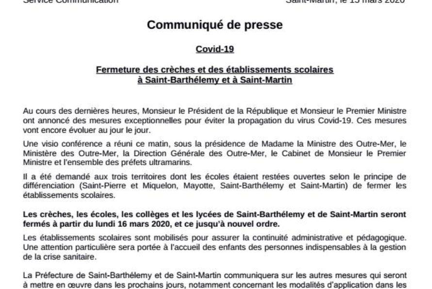 Saint-Barthélemy & Saint-Martin : Covid-19 – Fermeture des écoles
