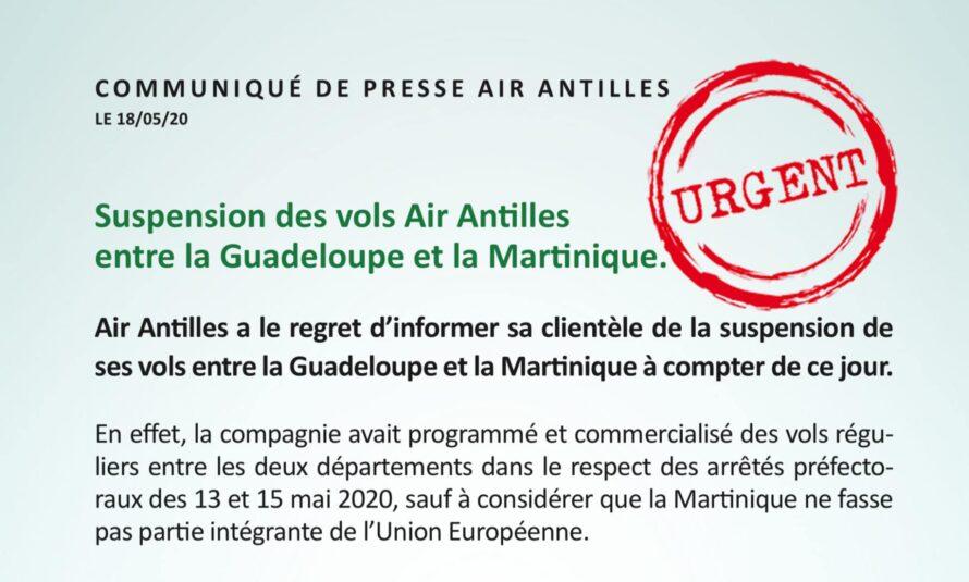 URGENT :  Suspension des vols Air Antilles entre la Guadeloupe et la Martinique.