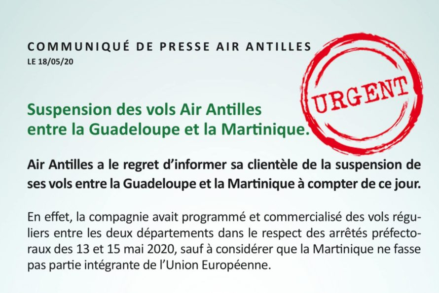 URGENT :  Suspension des vols Air Antilles entre la Guadeloupe et la Martinique.