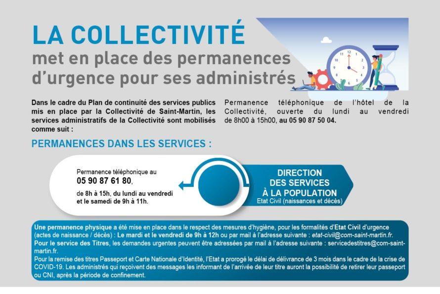 Collectivité de Saint-Martin : Maintien des permanences téléphoniques d'urgence pour le Public